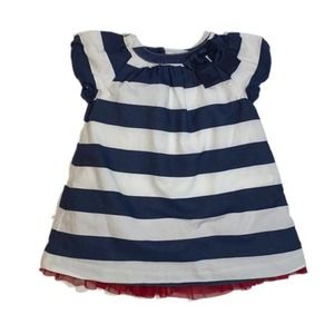 GAP Blue White Striped Dress Red Tulle 12-18M